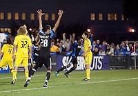 Andre Luiz (28) celebrates Chris Wondolowski's goal. The San Jose Earthquakes tied the Columbus Crew 2-2 at Buck Shaw Stadium in Santa Clara, California on June 2nd, 2010.