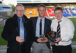 St Johnstone Player of the Year Awards 2014-15.....16.05.15<br /> John and Neil Morris present the Auchterarder Saints Player of the Year Award to Chris Millar<br /> Picture by Graeme Hart.<br /> Copyright Perthshire Picture Agency<br /> Tel: 01738 623350  Mobile: 07990 594431