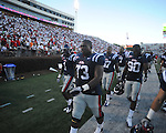 Ole Miss offensive lineman Alex Washington (73) walks off the field following a loss at Vaught-Hemingway Stadium in Oxford, Miss. on Saturday, September 4, 2010. Jacksonville State won 49-48 in double overtime.