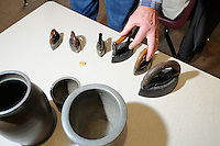 NWA Media/ J.T. Wampler -Ronald Pile's antique iron collection Wednesday Dec. 31, 2014 at the Shiloh Museum in Springdale.