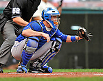 13 September 2008: Kansas City Royals' catcher John Buck in action against the Cleveland Indians at Progressive Field in Cleveland, Ohio. The Royals defeated the Indians 8-3 in the first game of their rain delayed double-header...Mandatory Photo Credit: Ed Wolfstein Photo
