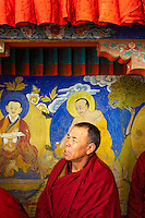 A monk watching with curiosity, the ongoing Cham dance performances during the Festival in Thiksey Monastery, Ladakh.