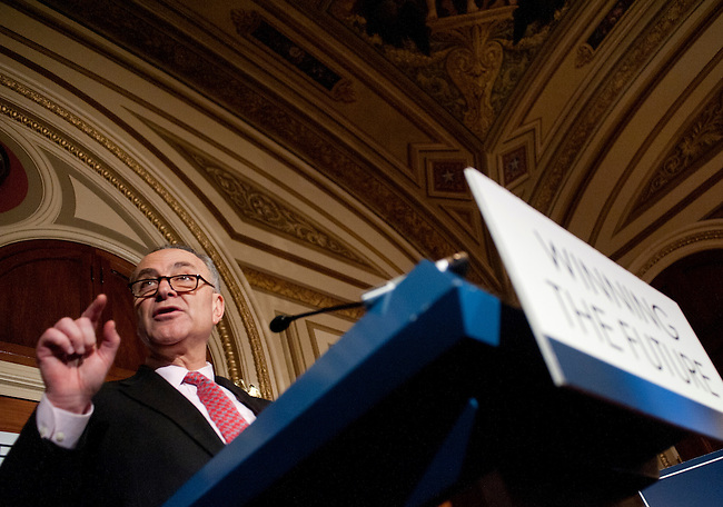 Feb 16, 2011 - Washington, District of Columbia, U.S. - Senator CHUCK SCHUMER (D-NY) during a news conference to unveil an economic agenda that balances investments with deficit reduction. (Credit Image: © Pete Marovich/ZUMA Press)