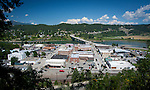 Idaho, Northern, Boundary County, Bonners Ferry. Looking down on the town of Bonners Ferry and the Kootenai River on a summer day.