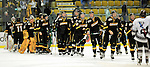 2 January 2009: The University of Vermont Catamounts line up for post game handshakes with the Colgate Raiders after the second game of the 2009 Catamount Cup Ice Hockey Tournament hosted by the University of Vermont at Gutterson Fieldhouse in Burlington, Vermont. The Catamounts defeated the Raiders 6-4 to move onto the championship game against the St. Lawrence Saints...Mandatory Photo Credit: Ed Wolfstein Photo