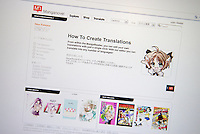 Manganovel website. Users can buy manga from the website, try their hand at translating it, then sell their work through the service.