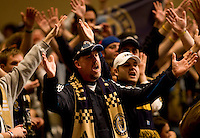 Philadelphia Union fans cheer on their team at the MLS Superdraft by at the Pennsylvania Convention Center in Philadelphia, PA.