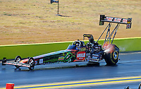 Sept. 25, 2011; Ennis, TX, USA: NHRA top fuel dragster driver Terry McMillen during the Fall Nationals at the Texas Motorplex. Mandatory Credit: Mark J. Rebilas-