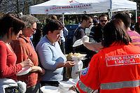 L'Aquila 6 Aprile 2009.Terremoto L'Aquila.I sfollati in una tendopoli  al L'Aquila.Earthquake to the city of L'Aquila. People evacuated from their homes in tent camp.