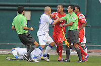 El Salvador Dennis Alas (14) goes after Panama Nelson Barahona (10) after a hard tackle on Jaime Alas (16)    Panama defeated El Salvador in penalty kicks 5-3 in the quaterfinals for the 2011 CONCACAF Gold Cup , at RFK Stadium, Sunday June 19, 2011.