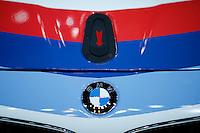 The logo of BMW is seen on a Z4 GTLM during the International Auto Show 2015 in New York. 04.06.2015. Eduardo MunozAlvarez/VIEWpress.