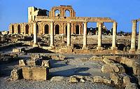 Libia  Sabratha .Citt&agrave;  romana a circa 67km da Tripoli.Teatro Romano, l'esterno del teatro.<br /> Sabratha Libya.<br /> Roman city about 67km from Tripoli. Roman Theatre, outside the theater
