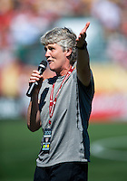 USWNT head coach Pia Sundhage addresses the crowd  at Sahlen's Stadium in Rochester, NY.  The USWNT defeated Costa Rica, 8-0.