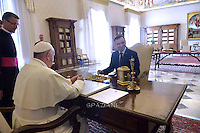 Pope Francis  Polish President Andrzej Duda  during a private audience at the Vatican on November 9, 2015.