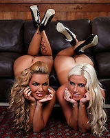 Gemma Massey and Chloe Dee English movie and magazine stars, Cottesloe studio shoot