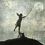 Young woman reaching for the moon. Photo based illustration.