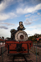 An old steam locomative on display at the Cañ
