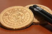 "Jan. 24, 2009; Obama, Japan - ""I Love Obama"" senbei (rice cookie) and hashi (chopsticks)."