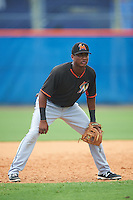 Miami Marlins third baseman Marcos Rivera (4) during an Instructional League game against the New York Mets on September 29, 2016 at the Port St. Lucie Training Complex in Port St. Lucie, Florida.  (Mike Janes/Four Seam Images)