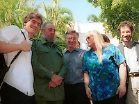 HAVANA, CUBA NOVEMBER 11: President Fidel Castro (C-2L) pose with the Heminghway's family Monday Nov. 11, 2002 in San Francisco de Paula near Havana, Cuba. Funded by the Rockefeller Foundation, the joint effort by the New York-based Social Science Research Council and the Cuban National Council of Patrimony will produce mircofilm copies of the material, restore some documents damaged by the Caribbean climate, and help conserve the house, including a 9,000-volume library and Hemingway's fishing boat, El Pilar . Credit: Jorge Rey/MediaPunch