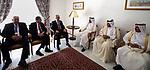 Palestinian Prime Minister Rami Hamdallah meets with the Qatari Prime Minister Sheikh Abdullah bin Nasser bin Khalifa al-Thani in Capital of Tunis on April 5, 2017. Photo by Prime Minister Office