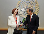 Australian Prime Minister Julia Gillard with UN Secretary General Ban-ki Moon at UN Headquarters in New York during her visit to the United States. pic by Trevor Collens.