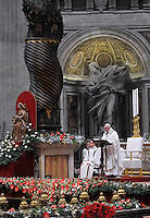 Pope Francis celebrates Christmas mass at St. Peter's Basilica in Vatican City on December 24, 2015
