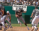 Oakland Raiders full back Justin Fargas (20) finds hole to run on Sunday, September 14, 2003, in Oakland, California. The Raiders defeated the Bengals 23-20.