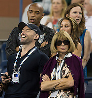 ANNA WINTOUR, THIERRY HENRY, HUGH JACKMAN<br /> The US Open Tennis Championships 2014 - USTA Billie Jean King National Tennis Centre -  Flushing - New York - USA -   ATP - ITF -WTA  2014  - Grand Slam - USA  <br /> <br /> 4th September 2014 <br /> <br /> &copy; AMN IMAGES