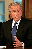 U.S. President George W. Bush (R) speaks to reporters at the top of a meeting with U.S. Congressional leaders at the White House in Washington, D.C., USA on 11 September 2007. Bush planned to discuss the testimony of Army General David Petraeus on the Iraq war, among other issues.
