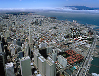 aerial photograph San Francisco Embarcadero Center and Transamerica pyramid with view to Golden Gate in fog