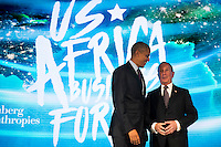 United States President Barack Obama talks with former New York City mayor Michael Bloomberg before speaking at the U.S.-Africa Business Forum at the Plaza Hotel, September 21, 2016 in New York City. The forum is focused on trade and investment opportunities on the African continent for African heads of government and American business leaders. <br /> Credit: Drew Angerer / Pool via CNP /MediaPunch