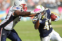 10/24/10 San Diego, CA: New England Patriots linebacker Jerod Mayo #51 and San Diego Chargers running back Darren Sproles #43 during an NFL game played at Qualcomm Stadium between the San Diego Chargers and the New England Patriots. The Patriots defeated the Chargers 23-20.