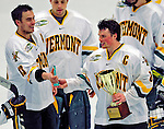 3 January 2009: The University of Vermont Catamounts celebrate winning the championship game of the Catamount Cup Ice Hockey Tournament over the St. Lawrence Saints at Gutterson Fieldhouse in Burlington, Vermont. Goaltender Rob Madore recorded his first college career shut out, leading the Cats to a 4-0 win over the Saints, and taking the tournament for the second time since its inception in 2005...Mandatory Photo Credit: Ed Wolfstein Photo