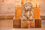 Fountain with a stone lion in Plaza de Medina del Campo
