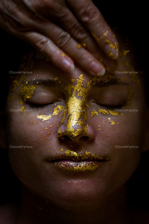 24K Gold Facial in Portland OR. The spa used a small molecule misting process to help dissolve the gold and also light therapy beforehand.
