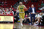 18 February 2017: Notre Dame's Matt Farrell. The North Carolina State University Wolfpack hosted the University of Notre Dame Fighting Irish at the PNC Arena in Raleigh, North Carolina in a 2016-17 Division I Men's Basketball game. Notre Dame won the game 81-72.
