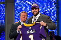 The fourth overall pick tackle Matt Kalil (Southern California) of the Minnesota Vikings with NFL commissioner Roger Goodell during the first round of the 2012 NFL Draft at Radio City Music Hall in New York, NY, on April 26, 2012.