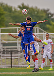 5 September 2014: University of Massachusetts River Hawks Midfielder Joel Rodriguez, a Freshman from Meriden, CT, in action against the St. Francis College Terriers at Virtue Field in Burlington, Vermont. The River Hawks defeated the Terriers 3-1, on their way to finishing the Morgan Stanley Smith Barney Windjammer Classic Men's Soccer Tournament with a 2-0 record, and being crowned as tournament champions on goal differential. Mandatory Credit: Ed Wolfstein Photo *** RAW (NEF) Image File Available ***