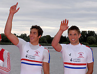 Brandenburg, GERMANY, GBR, BM2X, Bow Charles COUSINS and Bill LUCAS, Gold medalist.  2008 FISA U23 World Rowing Championships, Sunday, 20/07/2008, [Mandatory credit: Peter Spurrier Intersport Images].... Rowing Course: Brandenburg, Havel Rowing Course, Brandenburg, GERMANY