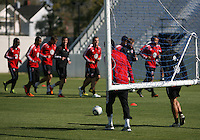 Clyde Simms#19 and Josh Wolfe#16 of D.C. United during a training session in Hapgood Stadium on the campus of the Citadel,on March 11 2011, in Charleston, South Carolina