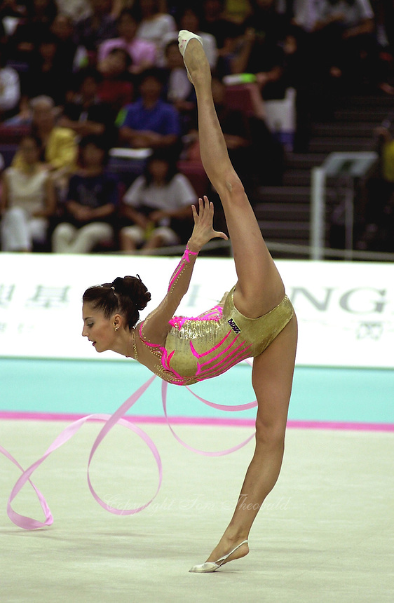 2 OCTOBER 1999 - OSAKA, JAPAN: Elena Vitrichenko of Ukraine performs with ribbon at the 1999 Rhythmic Gymnastics World Championships in Osaka, Japan.  Elena took 5th in the all-around.  Copyright 1999 by Tom Theobald