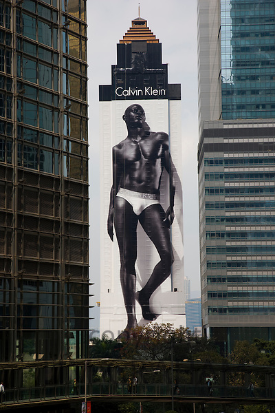 Calvin Klein male model billboard poster advertisement, Connaught Road, Central Hong Kong, China