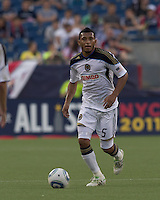 Philadelphia Union defender Carlos Valdes (5) at midfield. In a Major League Soccer (MLS) match, the Philadelphia Union defeated the New England Revolution, 3-0, at Gillette Stadium on July 17, 2011.