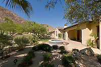 Desert landscaped backyard of house