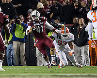 The tenth ranked South Carolina Gamecocks host the 6th ranked Clemson Tigers at Williams-Brice Stadium in Columbia, South Carolina.  USC won 31-17 for their fifth straight win over Clemson.  South Carolina Gamecocks fullback Connor McLaurin (41), Clemson Tigers defensive end Corey Crawford (93)