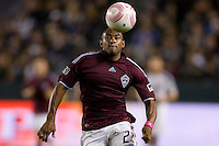 Colorado Rapids defender Marvell Wynne chases down a loose ball. The Colorado Rapids defeated the LA Galaxy 3-2 at Home Depot Center stadium in Carson, California on Saturday October 16, 2010.