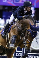 OMAHA, NEBRASKA - APR 2: Maikel Van der Vlueten's horse VDL Groep Verdi Tn N bucks after his round during the Longines FEI World Cup Jumping Final at the CenturyLink Center on April 2, 2017 in Omaha, Nebraska. (Photo by Taylor Pence/Eclipse Sportswire/Getty Images)