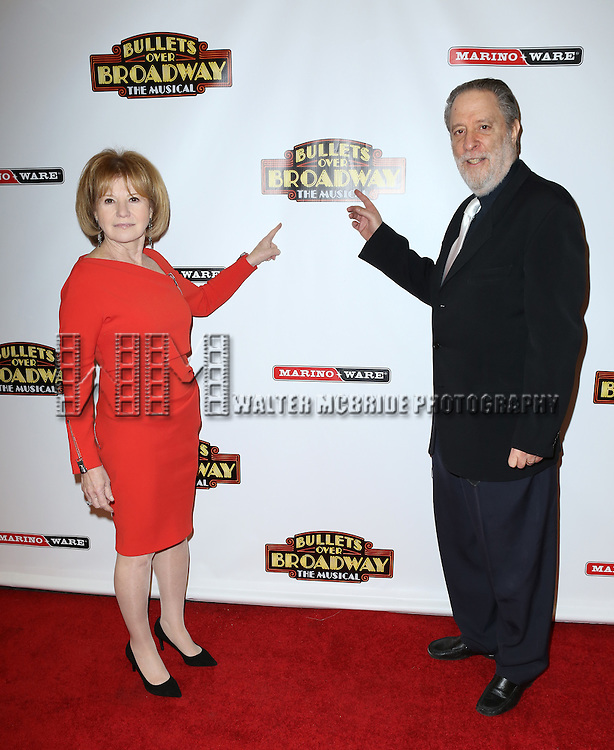 Letty Aaronson and Julian Schlossberg attending the Broadway Opening Night Performance of ''Bullets Over Broadway' at the St. James Theatre on April 10, 2014 in New York City.