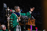 Ohio University President Roderick McDavis aknowledges specail guests during the afternoon Undergraduate Commencement ceremony on Saturday, May 2, 2015.  Photo by Ohio University  /  Rob Hardin